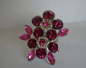 Pink Flower Crystal Rhinestone Adjustable Ring