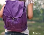 Last - Back Pack Sale with 25% Off - KINIES Back Pack in Purple - Backpack / Cross body Messenger / Shoulder bag
