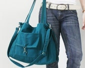 Christmas in July Sale - EZ Canvas Bag in Dark Teal - Double Strap Shoulder Bag/Tote/CrossBody Messenger - Kinies