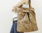 New Year SALE - 20% OFF QT in Khaki / Tote / Shoulder Bag /  diaper bag / School bag / laptop / Handbags / Purses / women / For Her