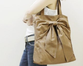 Back To School SALE - 20% OFF QT in Khaki / Tote / Shoulder Bag /  diaper bag / School bag / laptop / Handbags / Purses / women / For Her