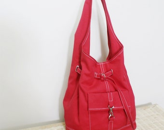 Canvas Shoulder bag in Red, Sling Bag, Hobo Bag, Drawstring Bag, Shopping Bag, Purse, Gift for Women Gift For Her  - STARZ -  SALE 30% OFF