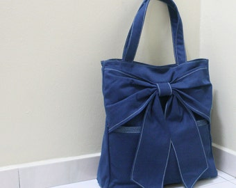 Canvas Tote in Royal Blue, Shoulder Bag, School bag, Travel bag, Handbags, Tote bag, Diapers bag, Gift Ideas for Women - QT -  SALE 30% OFF