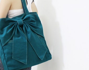 Canvas Tote in Teal, Shoulder Bag, School bag, Totes, Travel bag, Handbags, Tote bag, Diapers bag, Gift Ideas for Women - QT -  SALE 30% OFF