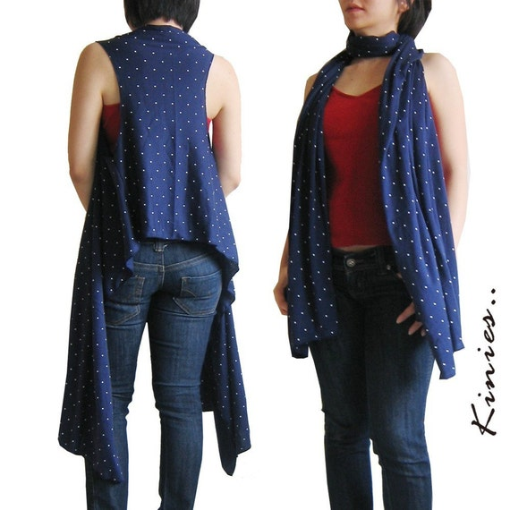 Christmas Special Offer From 28 Nov - 4 Dec 09 -Kinies 2 Ways Scarf and Vest - Knit in NAVY BLUE with White Polka Dot