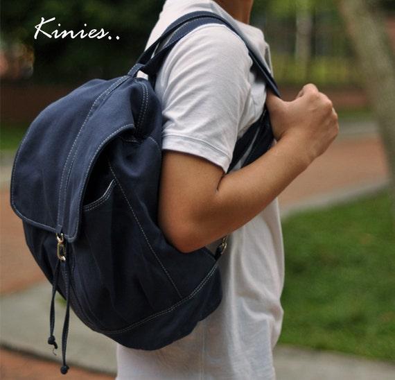 50% off Sale - KINIES BACK in Navy Blue - Backpack / Cross body Messenger / Shoulder bag