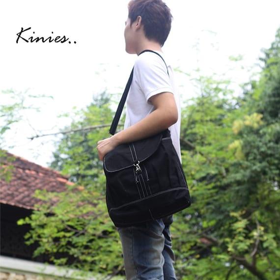 50% off Sale - Black Canvas Unisex Backpack, Rucksack, Satchels, Messenger bag, shoulder bag, Diapers bag - Kinies Back