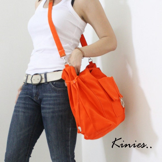 Canvas Tote in Orange, Shoulder Bag, Crossbody bag, School bag, Travel bag, Handbags, Diapers bag, Gift Ideas for Women - EZ -  SALE 20% OFF