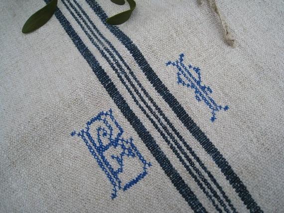 antique grain sack INDIGO body pillow upholstery cushion