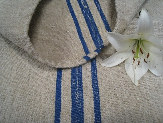 antique chunky and cushy ROYAL BLUE pillow runner