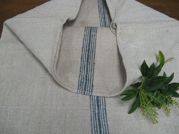 antique hemp linen INDIGO  tablerunner grainsack cushion