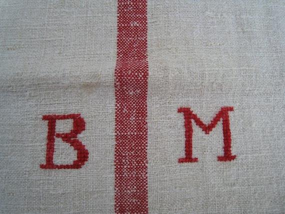 antique grain sack FRENCH RED  pillow cushion runner cushy wedding decor
