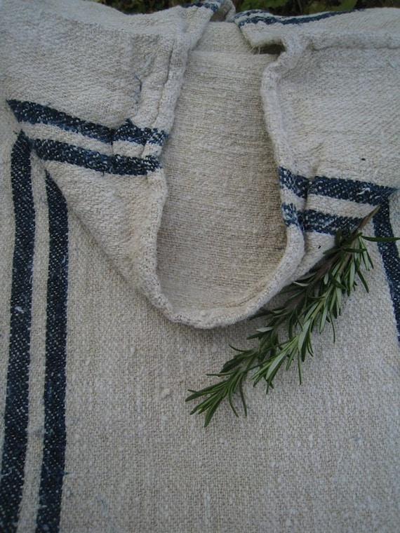 grain sack antique DARKEST NAVY pillow tablerunner benchcushion primitive heavy rural