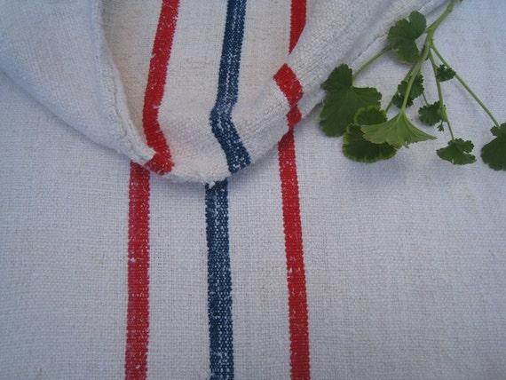 antique elegant grainsack BLUE RED holiday feeling pillow cushion 57.4long