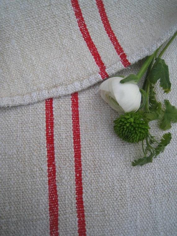 antique grain sack cushion tablerunner upholstery BRIGHT RED  wedding decor