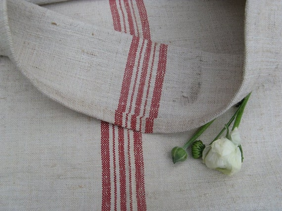 vintage grain sack faded RED upholstery fabric handloomed pillow