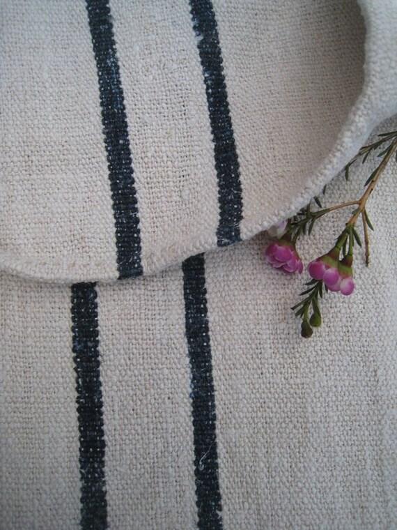 antique grain sack cushion tablerunner upholstery DARKEST INDIGO wedding decor 22.04wide