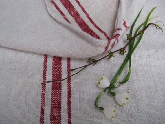 antique grain sack cushion tablerunner upholstery FRENCH RED wedding decor