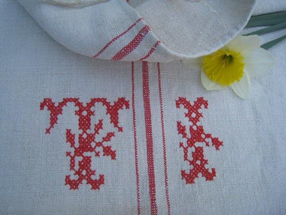 antique grain sack dark FADED  RED pillow cushion tablerunner wedding decor 22.04wide
