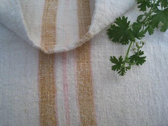 antique grain sack charming CARAMELL ROSE pillow cushion rural WEDDING decor runner