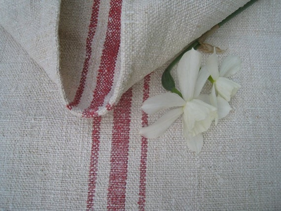 antique grain sack cushion tablerunner upholstery FADEd RED wedding decor