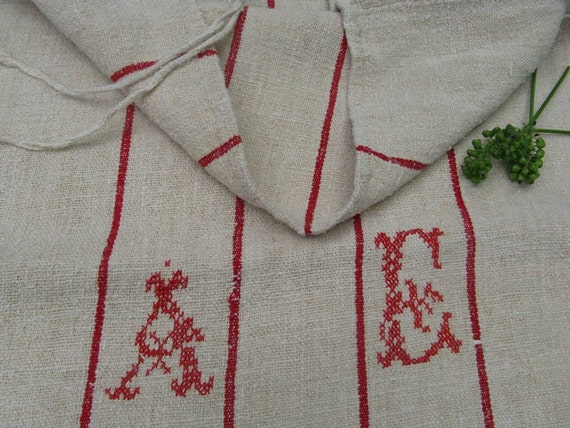 grain sack FRENCH RED runner pillow handloomed upholstery soft 55.2 long