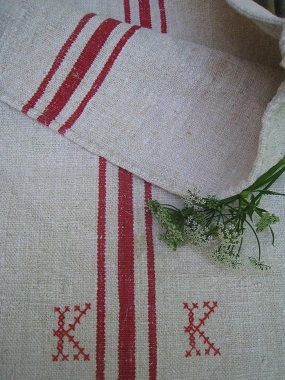 antique grain sack FRENCH RED pillow cushion rural runner