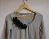 long sleeve TAUPE embellished top   CUSTOM order for ALEKSANDRA