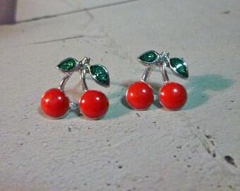 Mini Cherry Stud Earrings