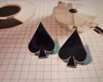 Black Spade Stud Earrings / Dangle Earrings