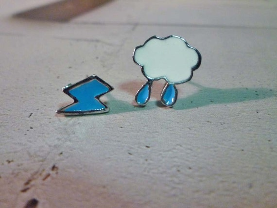 Mini Lightning Bolt and Cloud Earrings