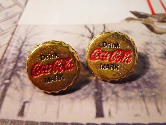SALE - Cola Bottle Cap Earrings - Gold