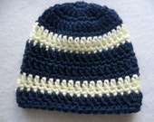 Crochet Baby Boy Hat Navy With Cream Stripes 0 - 3 Months