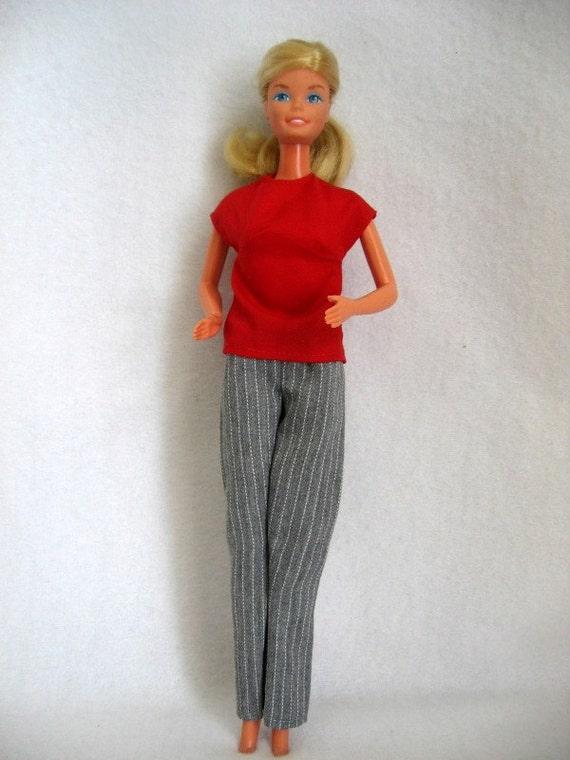 Handmade Gray Slacks & Red Barbie Blouse