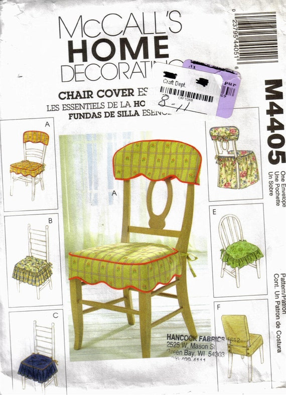 Mccalls 4405 sewing pattern chair covers for Furniture cover sewing patterns