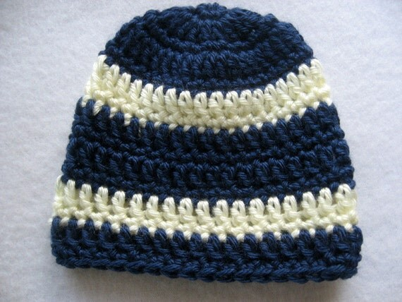 Crochet Baby Boy Hat Navy With Cream Stripes 0 - 3 Months