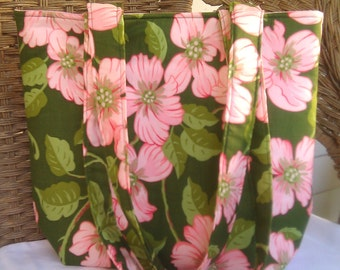 SALE    Green With Pink Magnolia Blossom Bag