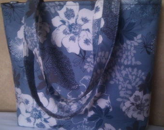 Blue Gray and White Floral Beach Baby Bag