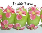 HOT PINK FLOWER PETALS on LIME GREEN Rondelle Handmade Lampwork Glass Bead - Set of 5