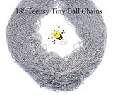 Lot of 50 - 18 Inch TEENSY TINY Silverplated Ball Chain Necklaces with Lobster Claw Clasps