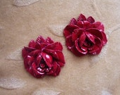 Vintage Lucite/ plastic rose, flower, pendant, red, Lot of 2