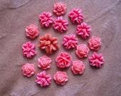 Vintage lucite/plastic flower cabochon,bead,coral orange 13mm, Lot of 18