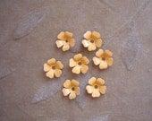 Vintage metal enamel flower beads, yellow/orange,13m, Lot of 14