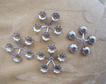 Vintage metal flower, bead/finding,22m,brass/silver, Lot of 4