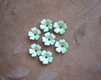 Vintage metal enamel flower beads, soft green, 13m, lot of 14