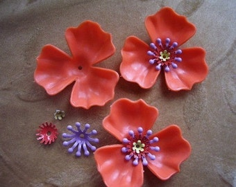 Vintage Lucite/plastic flower bead sets, orange, 48mm, Lot of 4 sets