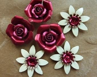 Vintage metal enamel flower bead, rose, yellow, Lot of 4 sets