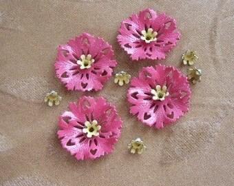 Vintage enamel flower, bead, cabochon, pink, 14 pieces
