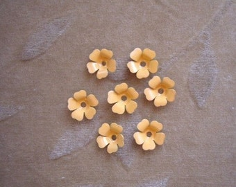 Vintage metal enamel flower beads, yellow/orange,13m, Lot of 14