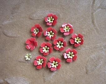 Vintage enamel metal flower bead sets,red,yellow, Lot of 14 sets.